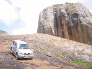 Trusty Pajero perched on a Pedra Negra