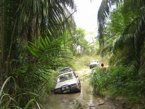 Driving to Quicama nature area, Angola.