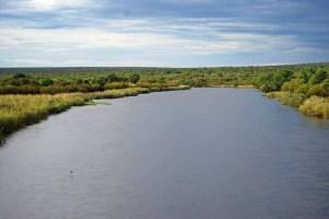 The river at Caiundo. Rio Cuvango was called Rio Cubango by the Portuguese