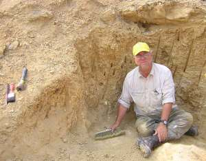Our guest speaker, vertebrate paleontologist Louis L. Jacobs on a dig along the northern coast of Angola.