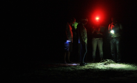 Inspecting a nest, Angola Field Group annual overnight Turtle Trip. Photo courtesy Susannah.