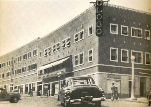 Hotel Globo, taken around 1952, still exists today about a block east of the Epic Sana Hotel.