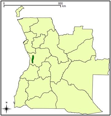 Location of Kumbira Forest (green) in Kwanza Sul province.