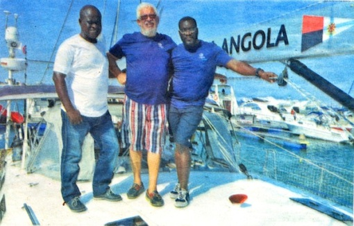 Part of the sailing team, from L to R: Filipe Luvambo, Captain Tita, Jean Pierre  (Jornal d'Angola, Nov. 4 2013)