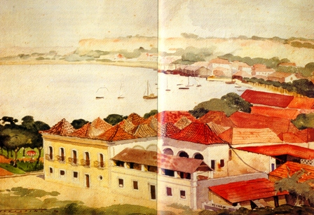Watercolor of the Bay and Old Port of Luanda, from the book from the book Luandando by Pepetela.