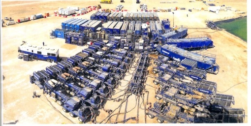 Fracking spread in the desert of Oman, capable of delivering 50 to 80 barrels of fluid per minute into the well. Photo courtesy BP.
